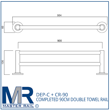 DEP-C + CR-90 COMPLETED 90CM DOUBLE TOWEL RAIL